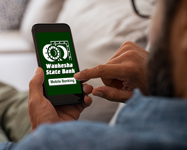 man using WSB mobile banking app